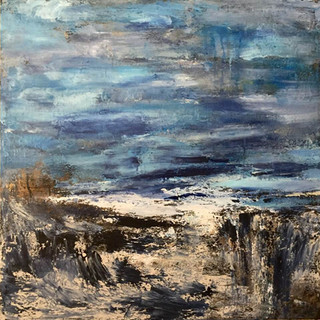 Sea at Early Evening 30x30 Acrylic on Ca