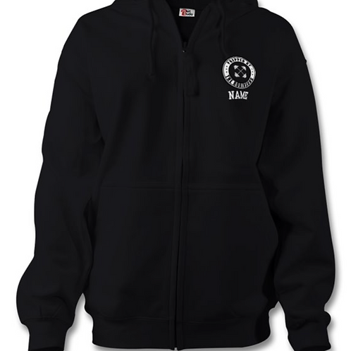 LADIES BLACK ZIP HOODIE