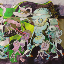 """Piss Water Park 2020 acrylic, charcoal 29"""" x 21"""""""