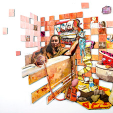 Precious Moments with the Toilet Devil 2019 Oil, acrylic, fabric, wood, stuffed angel, phone cord 55'' x 50'
