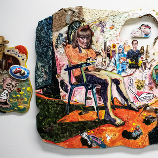 Calvin's Urinary Incontinence and Horse Girls 2018 acrylic, oil, clay, fabric, plaster, wood, carpet, cardboard, horse stickers, popcorn bags, epoxy, resin, elmers purple glue 74'' x 47''