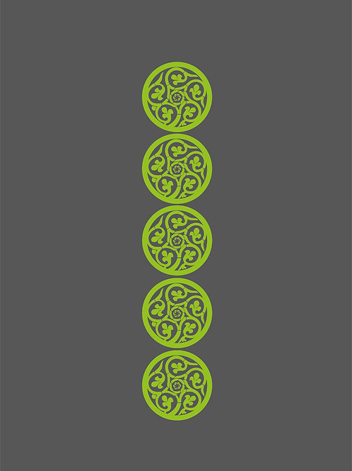 Islamic Art Print - Grey Lime Pattern1_Digital_Art_0016 (A3 size 42cm x 30cm)