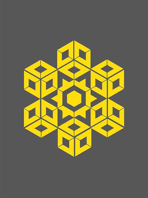 Islamic Art Print - Grey_Yellow Pattern3_Digital_Art_0018 (A3 size 42cm x 30cm)