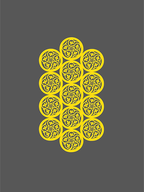 Islamic Art Print - Grey Yellow Pattern2_Digital_Art_0017 (A3 size 42cm x 30cm)