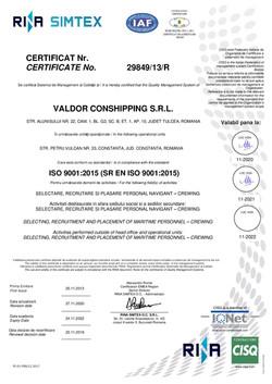 VALDOR CONSHIPPING-9001-CERTIFICAT-RENAR