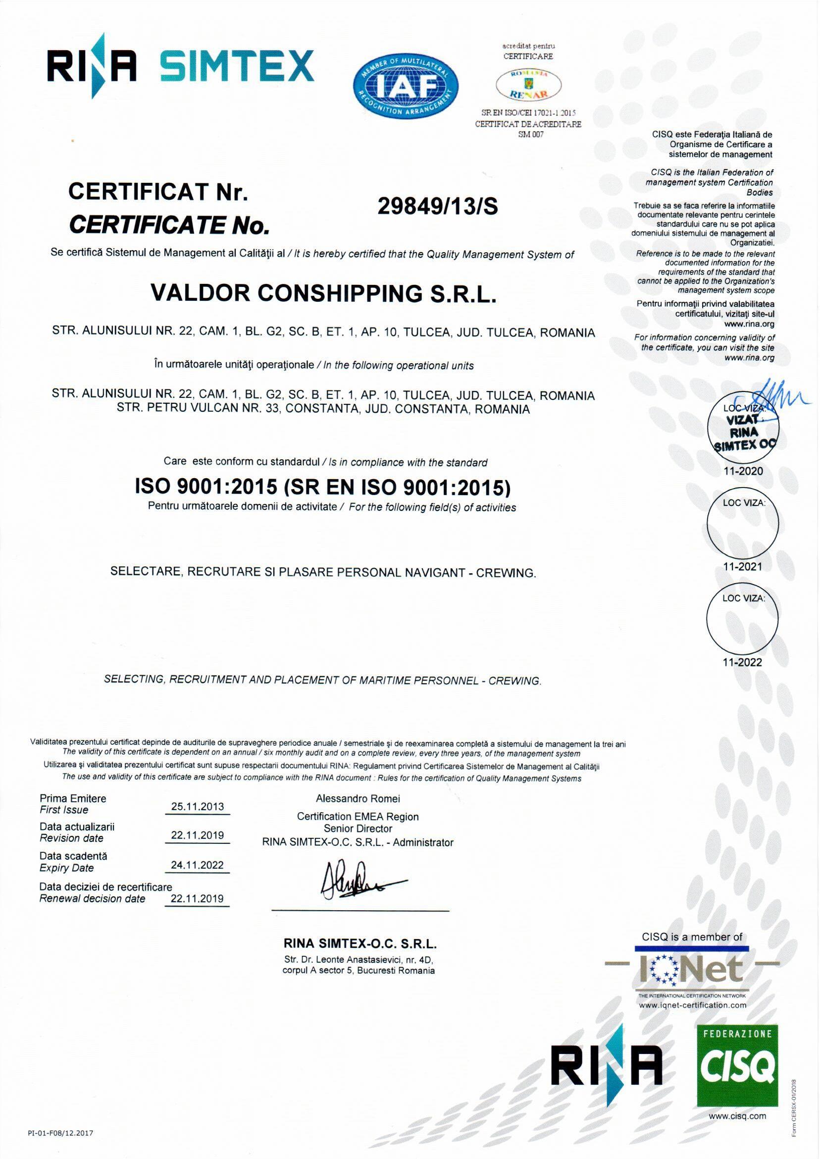 RINA ISO 9001:2015 CERTICATE