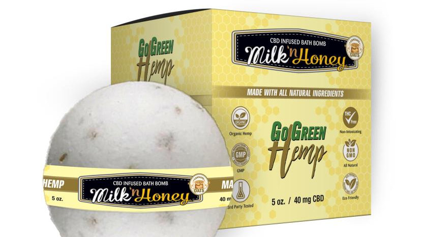 GoGreen Hemp CBD Bath Bombs Oat Milk & Honey 40mg
