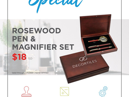 Weekly Special ~ Rosewood Pen & Magnifier Set