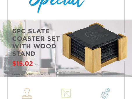 Weekly Special - Beacon 6PC Slate Coaster Set with Wood Stand