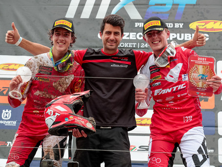 Spies won of the EMX2T European Championship opening round, and Tuani a third place