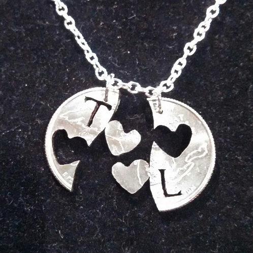 2 Hearts - Interlocking Set - With Initials
