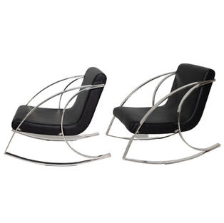 Black Faux Leather Rocking Chair