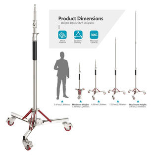 Stainless Steel Light Stand Tripod with Wheels