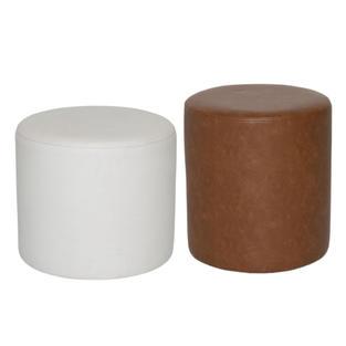 Large Round White & Small Brown Ottoman
