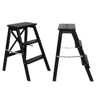 3 Step Black Wooden Step Ladder