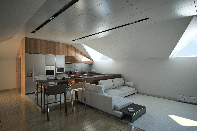 Interior of loft. Apartment 1