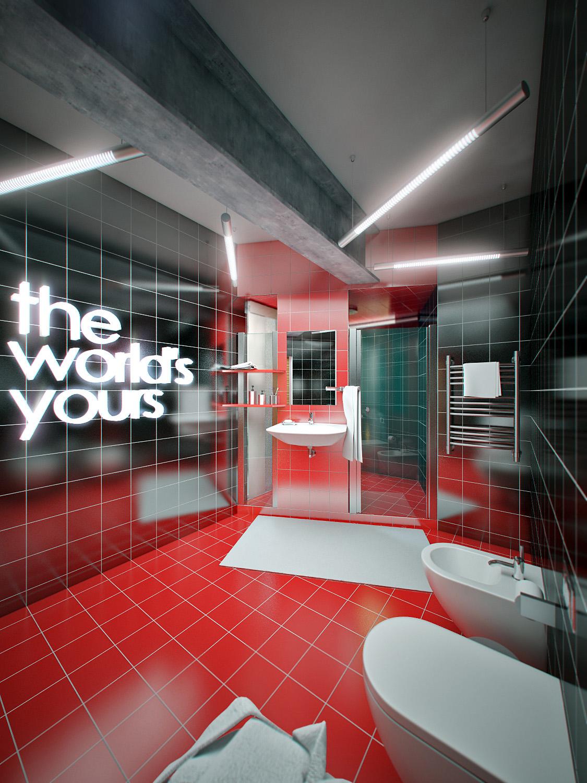 Interior of bathroom. Apartment 2