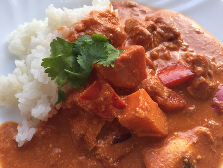 Indisches Süßkartoffel-Curry  mit Butter-Chicken