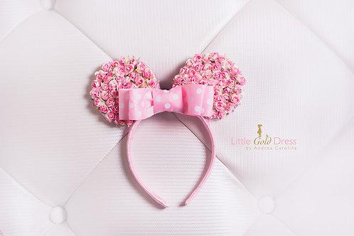 Orejas de Minnie rosadas con flores