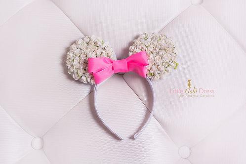 Orejas de Minnie blancas con flores y perlas