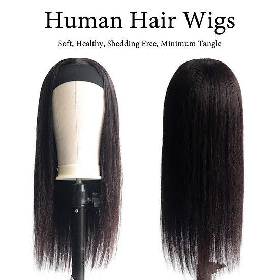 Human Hair STRAIGHT Headband Wig