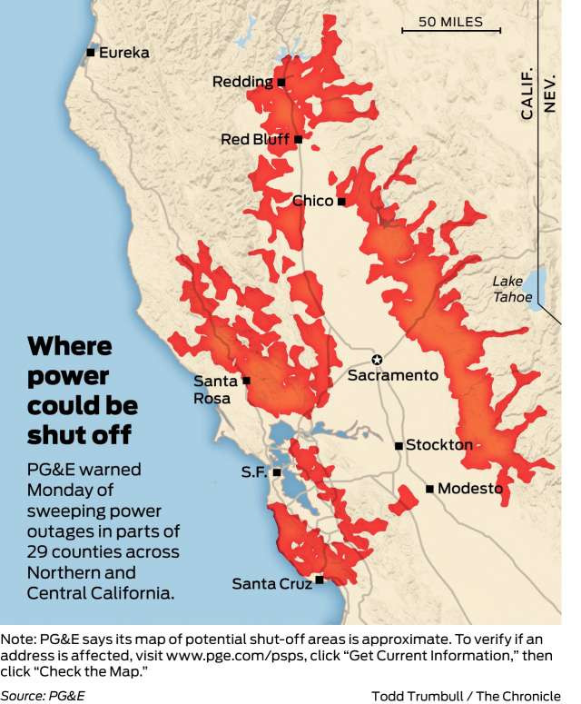 PG&E Power Outage Map - Oct 9th