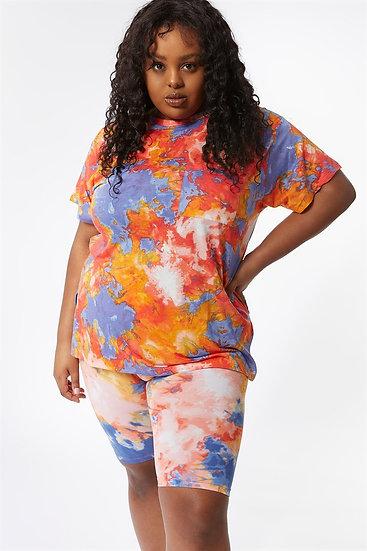 Blue Splash Dye T Shirt Plus