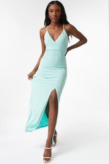 Sage V Neck Split Maxi Dress