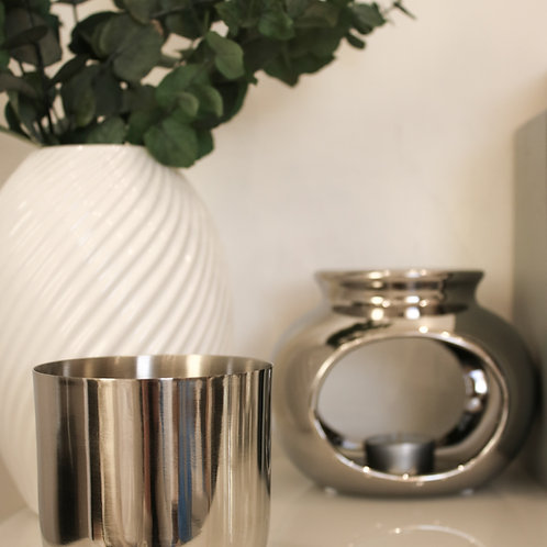 Large Silver Smooth Candle