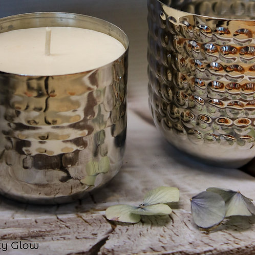 Medium Silver Hammered Candle