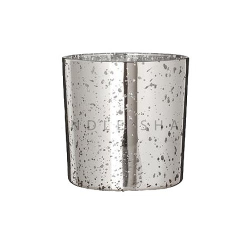 3 Wick Tall Bowl Electroplated Silver candle