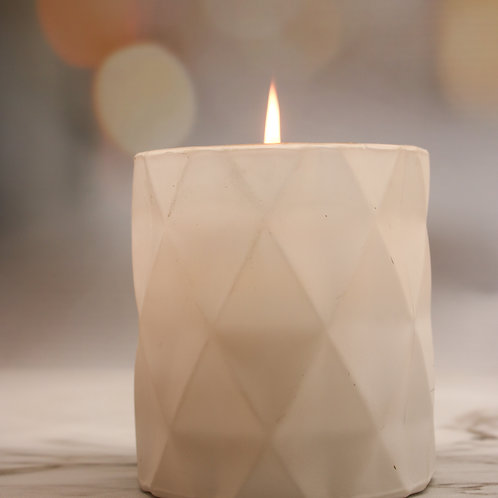 Matt White Diamond Candle