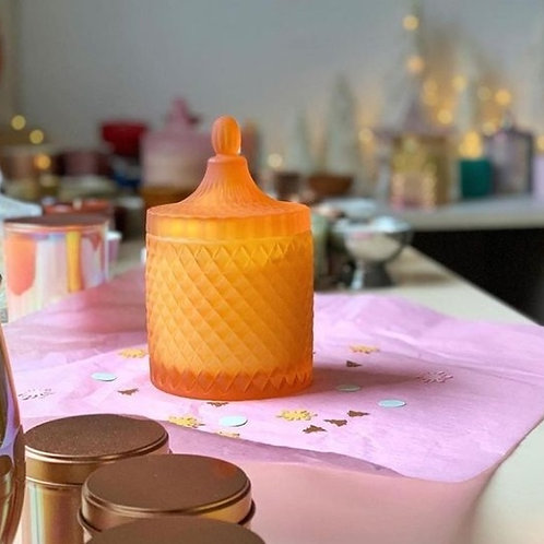 Frosted Orange Geo Candle