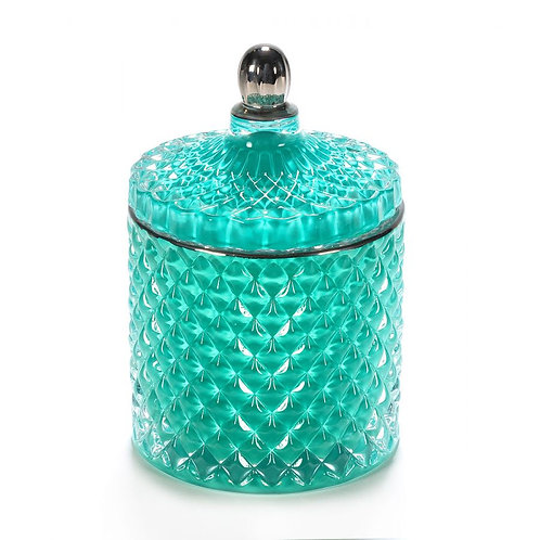 Teal Royal Geo Candle