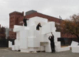 Ensamble Studio principals Debora Mesa and Anton Garcia-Abril building Cubic Igloo structure at MIT POPlab