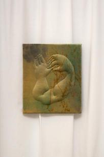 Eliška Konečna, It must be us, 2021, embroidery, dyed velvet, wooden frame, 67 x 57 cm