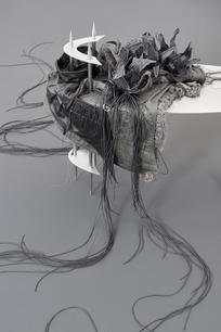 Anitya (There are flowers that are born of mud) III, 2020 steel, aluminum, linen, silk, recycled leather, rubber, synthetic textile 74 x 100 x 42 cm