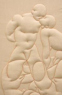 Eliska Konecna, It could be us, detail, 2021, embroidery, textile, wooden frame, 235 x 147cm