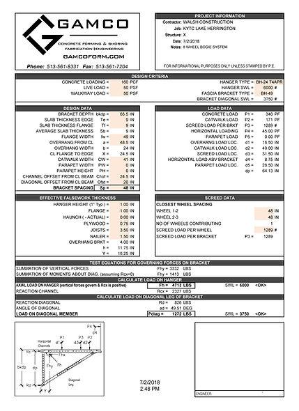 Gamco Overhang Falsework Calc Sheet