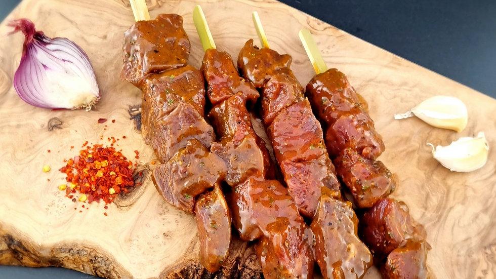 4 Oriental Salt & Pepper Beef Kebabs