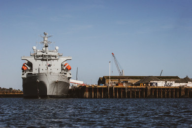 RFA Naval Vessel In Port