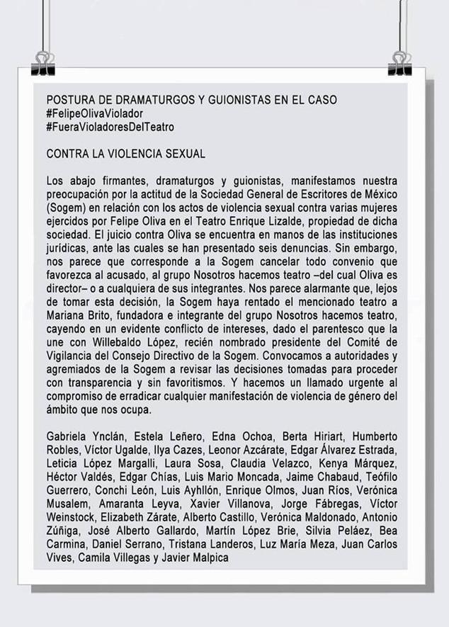 Contra la violencia sexual: dramaturgos y escritores de la SOGEM sobre caso Felipe Oliva