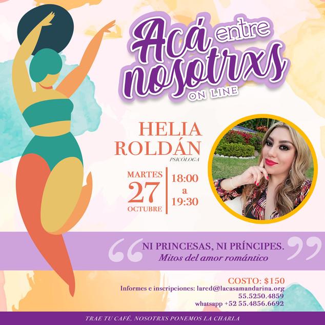 """☕️Acá entre nosotrxs: """"Ni princesas ni príncipes. Mitos del amor romántico"""" con Helia Roldán"""