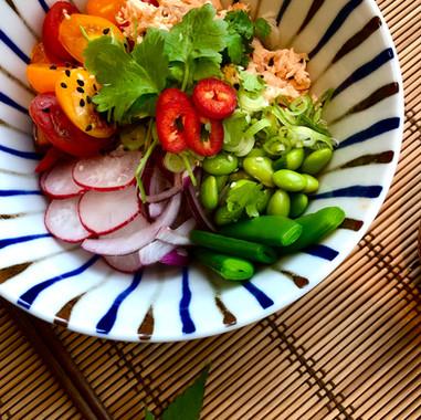 Salmon fillet poke bowl