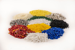a closeup of recycled plastic grains