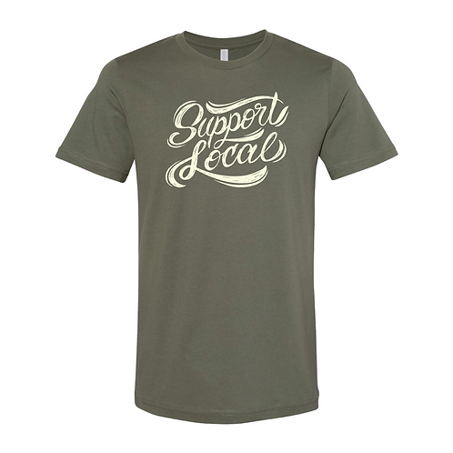 Support Local Tee in Military Green