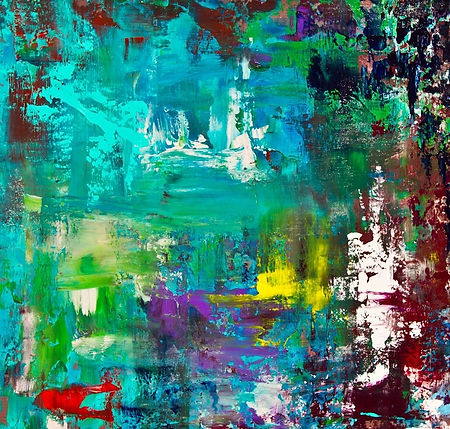 This mixed media painting presents an abstract interplay of bold colors, originally on a 24-inch by 24-inch canvas.