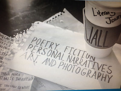 This black-and-white photograph depicts a coffee cup with the WALL label resting atop notebook paper with a list of the genres in the journal and other writing in the background.