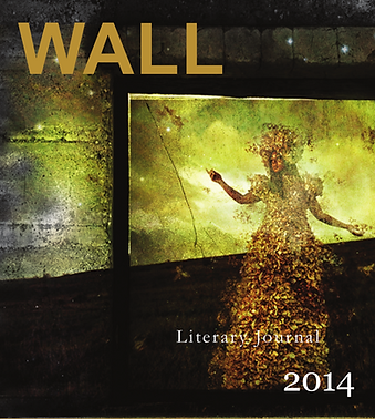 A surreal figure of a woman wearing a dress of leaves gestures toward a golden horizon behind a window frame and in front of a gray wall in the 2014 cover of WALL.