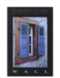 A window with blue shutters serves as the cover image for WALL 2002.